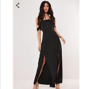 Black Bardot Button Front Maxi Dress NWT US 2